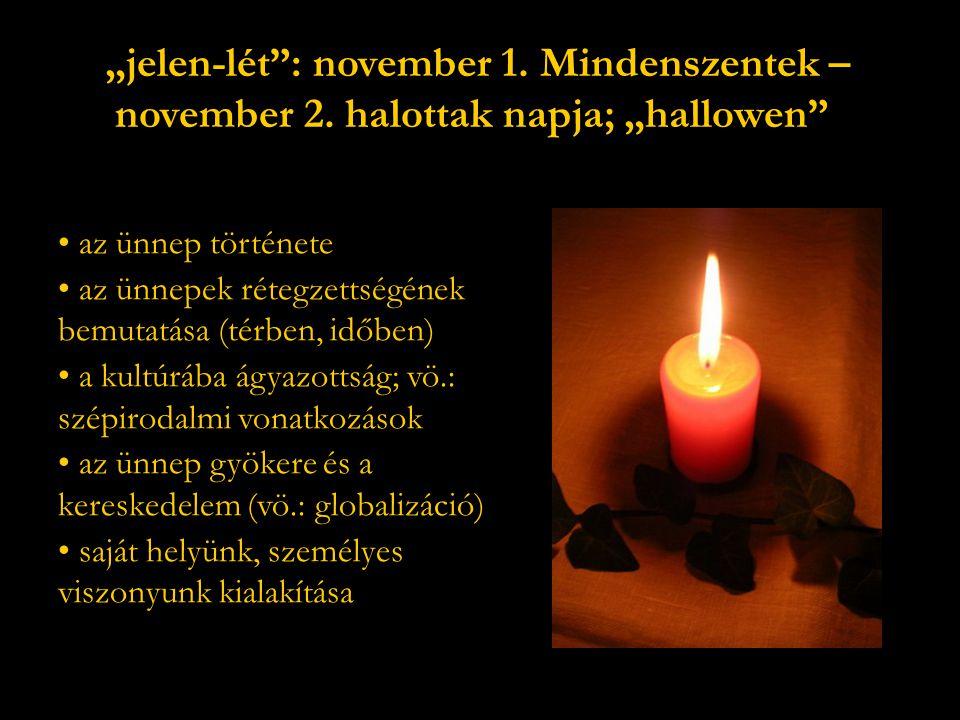 """""""jelen-lét : november 1. Mindenszentek – november 2."""