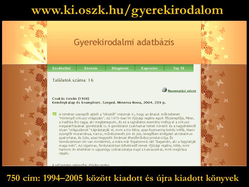 www.ki.oszk.hu/gyerekirodalom 750 cím: 1994–2005 között kiadott és újra kiadott könyvek