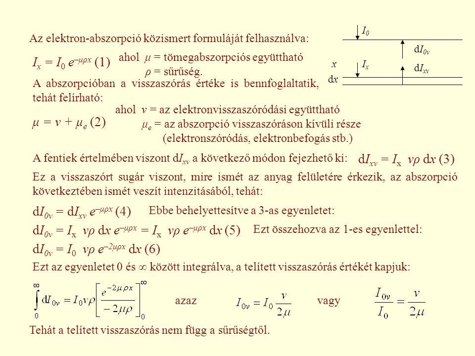 Az elektron-abszorpció közismert formuláját felhasználva: I x = I 0 e –μρx (1) ahol μ = tömegabszorpciós együttható ρ = sűrűség. A abszorpcióban a vis