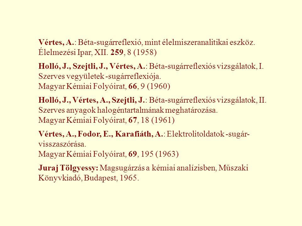 Vértes, A.: Béta-sugárreflexió, mint élelmiszeranalitikai eszköz. Élelmezési Ipar, XII. 259, 8 (1958) Holló, J., Szejtli, J., Vértes, A.: Béta-sugárre