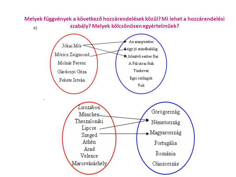 Melyek függvények a következő hozzárendelések közül.