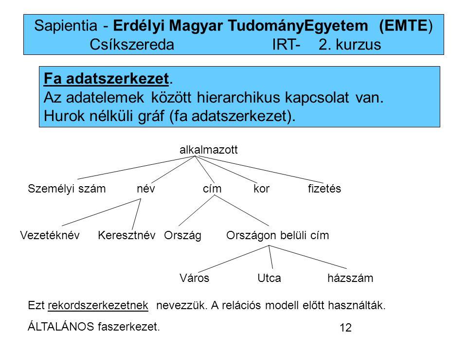 Sapientia - Erdélyi Magyar TudományEgyetem (EMTE) Csíkszereda IRT-2. kurzus Fa adatszerkezet. Az adatelemek között hierarchikus kapcsolat van. Hurok n