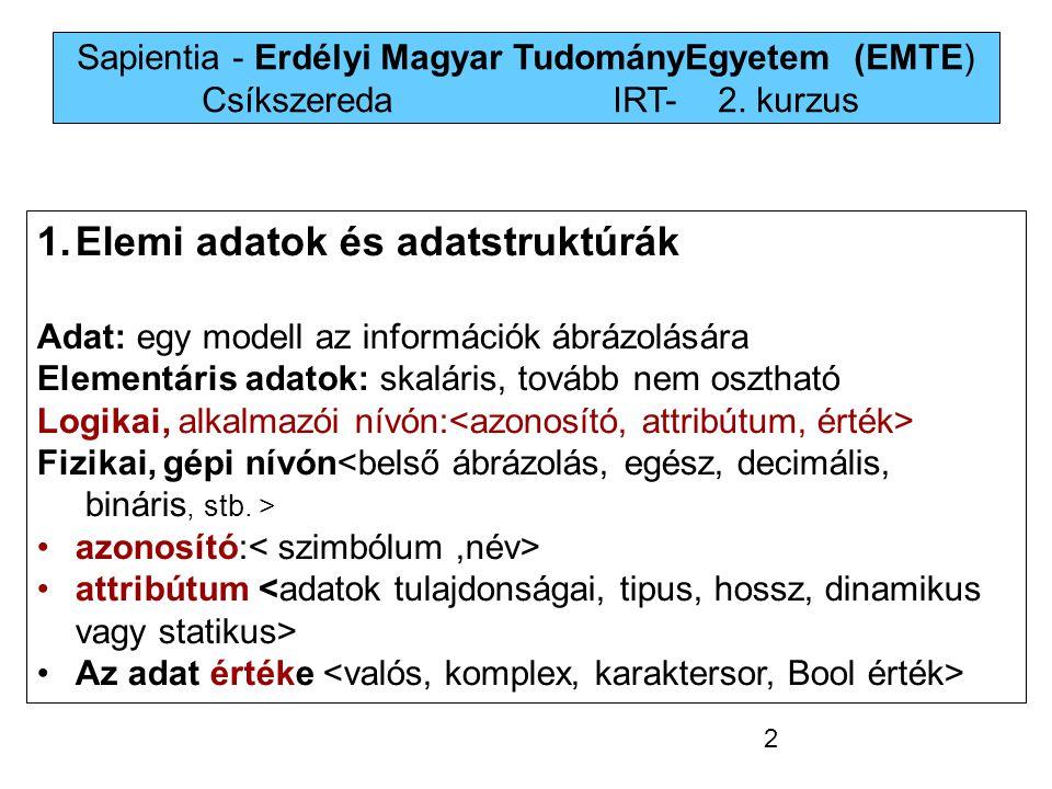 Sapientia - Erdélyi Magyar TudományEgyetem (EMTE) Csíkszereda IRT-2. kurzus 1.Elemi adatok és adatstruktúrák Adat: egy modell az információk ábrázolás