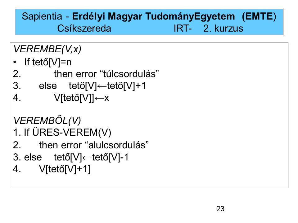"""Sapientia - Erdélyi Magyar TudományEgyetem (EMTE) Csíkszereda IRT-2. kurzus VEREMBE(V,x) If tető[V]=n 2. then error """"túlcsordulás"""" 3.else tető[V]←tet"""