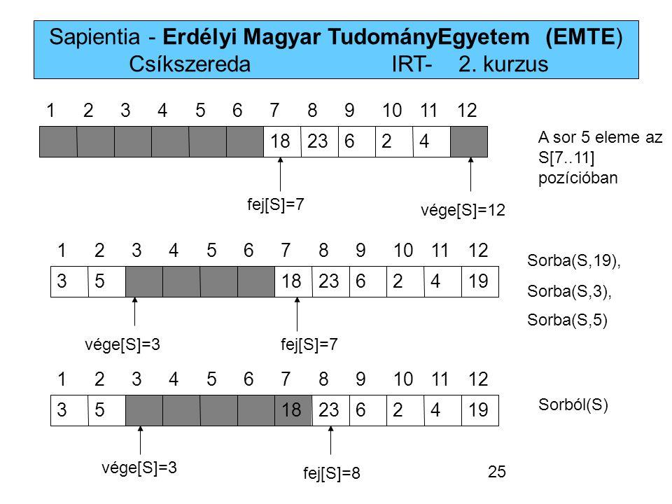 Sapientia - Erdélyi Magyar TudományEgyetem (EMTE) Csíkszereda IRT-2. kurzus 4262318 121110987654321 19426231853 121110987654321 19426231853 1211109876