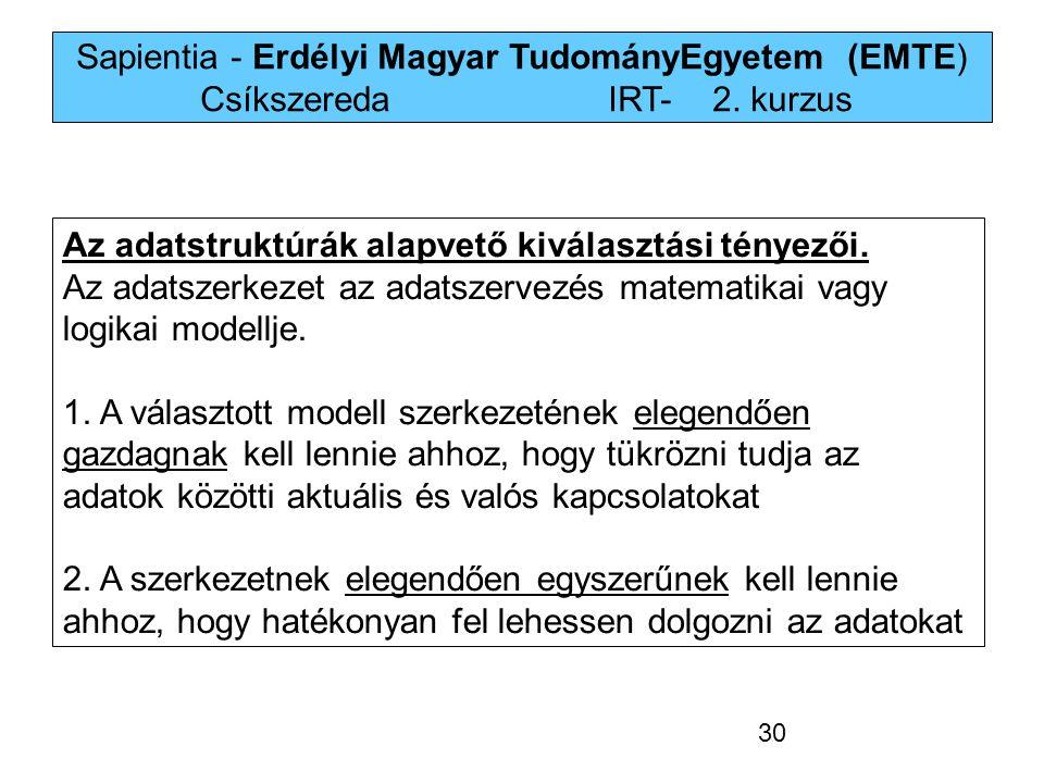 Sapientia - Erdélyi Magyar TudományEgyetem (EMTE) Csíkszereda IRT-2. kurzus Az adatstruktúrák alapvető kiválasztási tényezői. Az adatszerkezet az adat