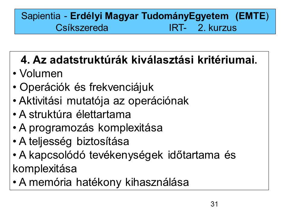 Sapientia - Erdélyi Magyar TudományEgyetem (EMTE) Csíkszereda IRT-2. kurzus 4. Az adatstruktúrák kiválasztási kritériumai. Volumen Operációk és frekve