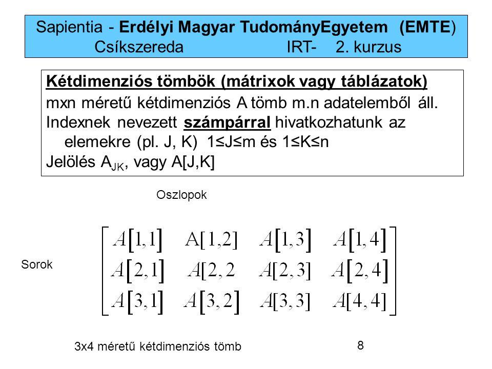Sapientia - Erdélyi Magyar TudományEgyetem (EMTE) Csíkszereda IRT-2. kurzus Kétdimenziós tömbök (mátrixok vagy táblázatok) mxn méretű kétdimenziós A