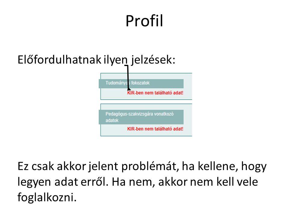 Profil Előfordulhatnak ilyen jelzések: Ez csak akkor jelent problémát, ha kellene, hogy legyen adat erről. Ha nem, akkor nem kell vele foglalkozni.