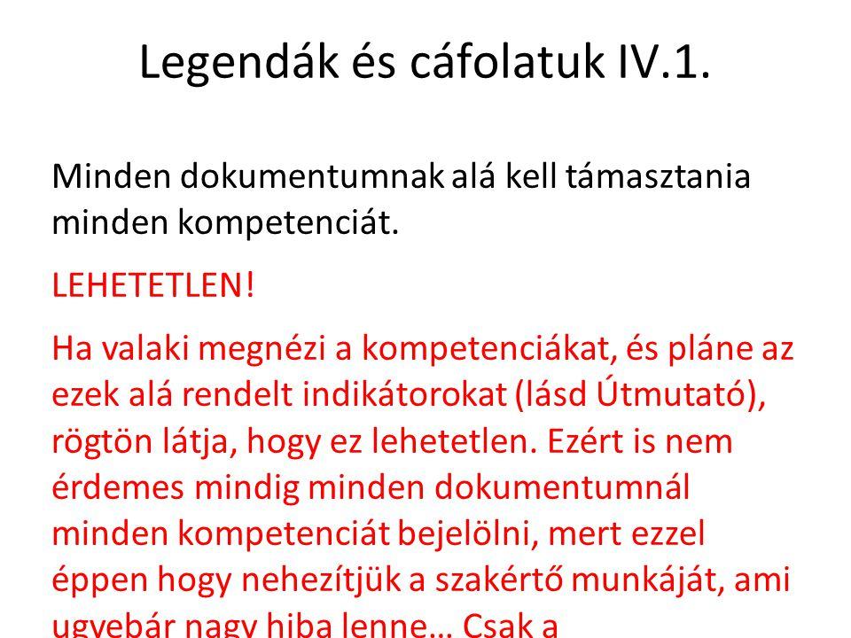 Legendák és cáfolatuk IV.1. Minden dokumentumnak alá kell támasztania minden kompetenciát. LEHETETLEN! Ha valaki megnézi a kompetenciákat, és pláne az