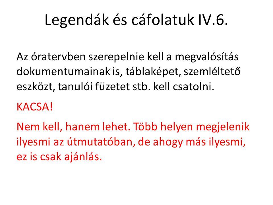Legendák és cáfolatuk IV.6. Az óratervben szerepelnie kell a megvalósítás dokumentumainak is, táblaképet, szemléltető eszközt, tanulói füzetet stb. ke