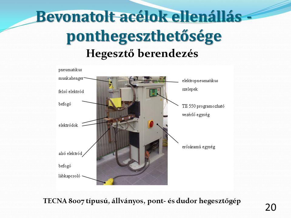 20 Hegesztő berendezés TECNA 8007 típusú, állványos, pont- és dudor hegesztőgép Bevonatolt acélok ellenállás - ponthegeszthetősége