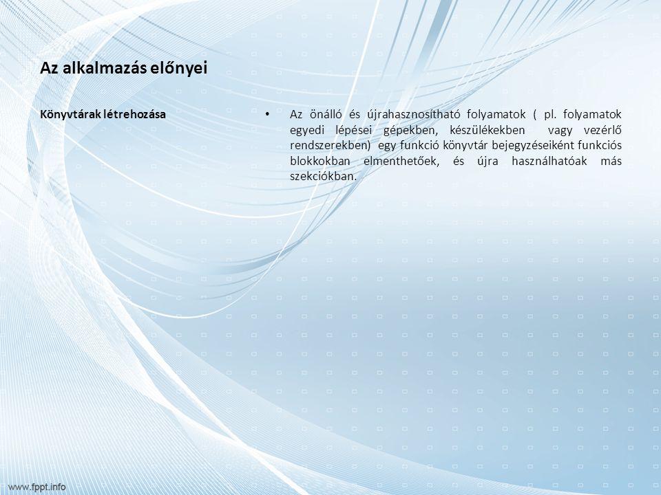 Az alkalmazás előnyei Könyvtárak létrehozása Az önálló és újrahasznosítható folyamatok ( pl.