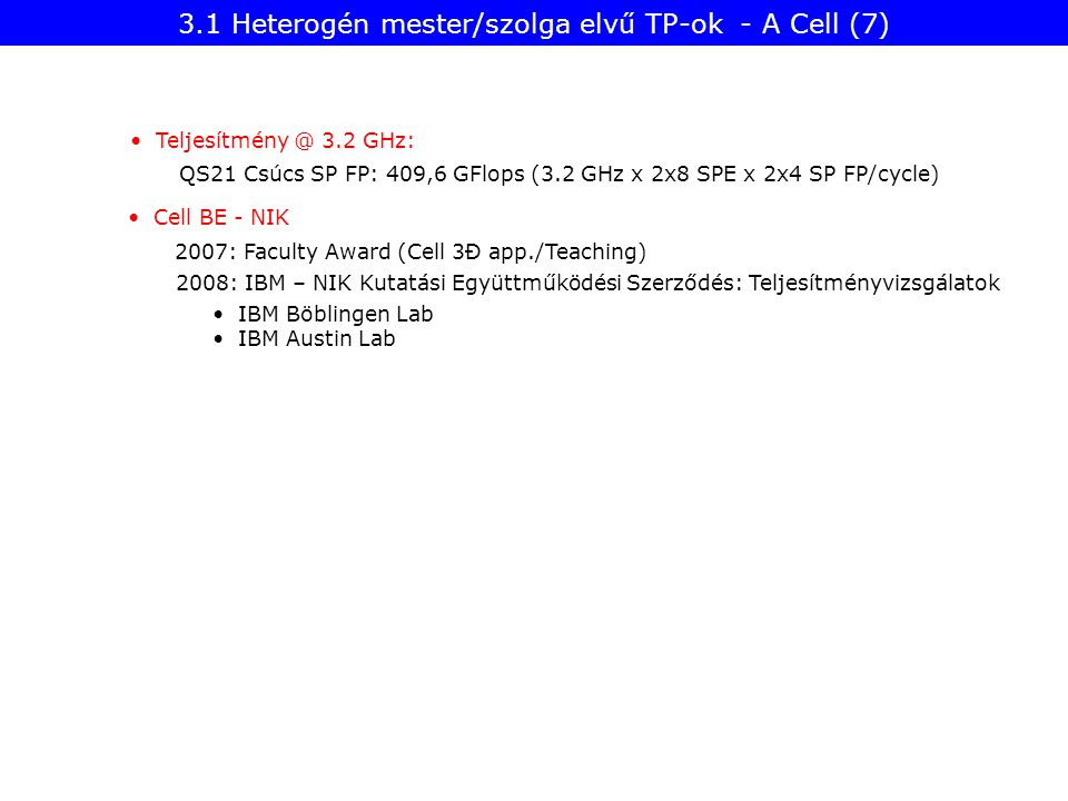 Teljesítmény @ 3.2 GHz: QS21 Csúcs SP FP: 409,6 GFlops (3.2 GHz x 2x8 SPE x 2x4 SP FP/cycle) Cell BE - NIK 2007: Faculty Award (Cell 3Đ app./Teaching)