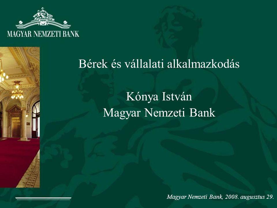 Bérek és vállalati alkalmazkodás Kónya István Magyar Nemzeti Bank Magyar Nemzeti Bank, 2008.