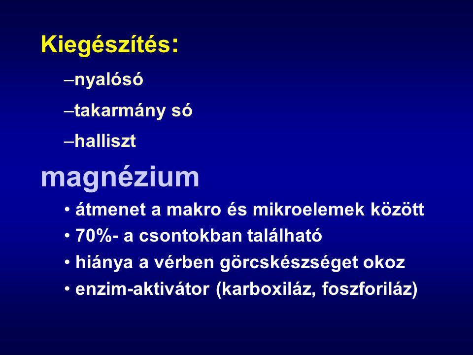 Kiegészítés : –nyalósó –takarmány só –halliszt magnézium átmenet a makro és mikroelemek között 70%- a csontokban található hiánya a vérben görcskészséget okoz enzim-aktivátor (karboxiláz, foszforiláz)