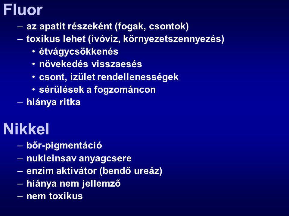 Fluor –az apatit részeként (fogak, csontok) –toxikus lehet (ivóvíz, környezetszennyezés) étvágycsökkenés növekedés visszaesés csont, izület rendellenességek sérülések a fogzománcon –hiánya ritka Nikkel –bőr-pigmentáció –nukleinsav anyagcsere –enzim aktivátor (bendő ureáz) –hiánya nem jellemző –nem toxikus