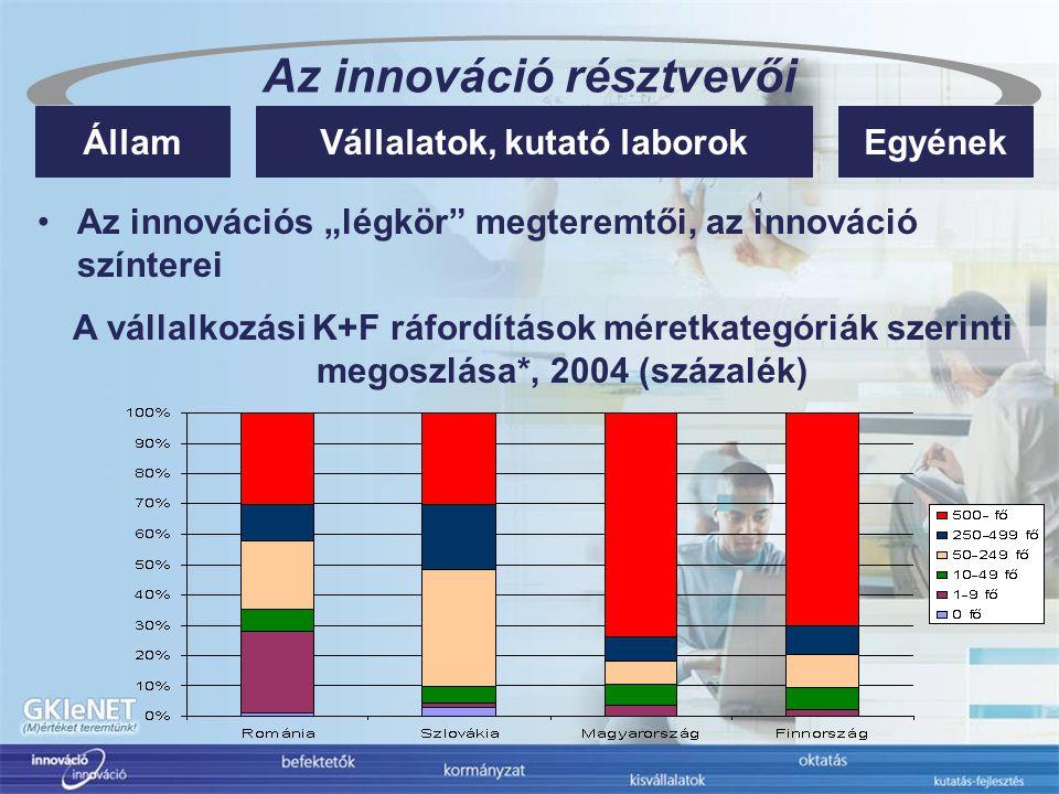 """Az innováció résztvevői Vállalatok, kutató laborokÁllamEgyének Az innovációs """"légkör megteremtői, az innováció színterei A vállalkozási K+F ráfordítások méretkategóriák szerinti megoszlása*, 2004 (százalék)"""