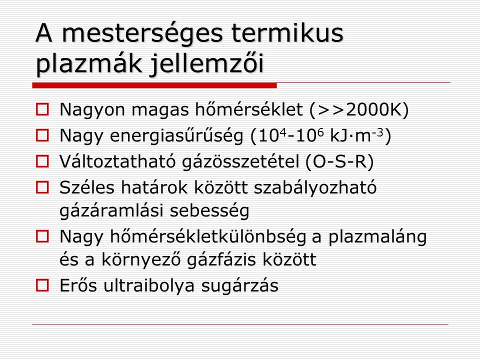  Nagyon magas hőmérséklet (>>2000K)  Nagy energiasűrűség (10 4 -10 6 kJ·m -3 )  Változtatható gázösszetétel (O-S-R)  Széles határok között szabály