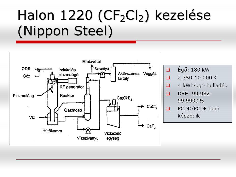 Halon 1220 (CF 2 Cl 2 ) kezelése (Nippon Steel)  Égő: 180 kW  2.750-10.000 K  4 kWh·kg -1 hulladék 99.982- 99.9999%  DRE: 99.982- 99.9999%  PCDD/PCDF nem képződik