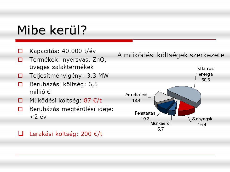 Mibe kerül?  Kapacitás: 40.000 t/év  Termékek: nyersvas, ZnO, üveges salaktermékek  Teljesítményigény: 3,3 MW  Beruházási költség: 6,5 millió € 