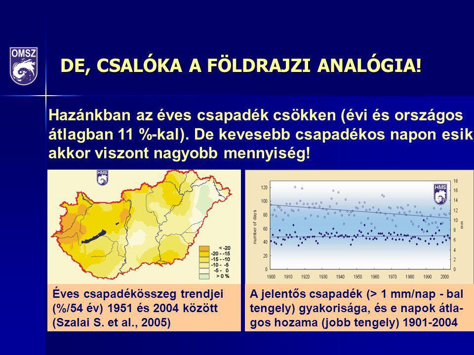DE, CSALÓKA A FÖLDRAJZI ANALÓGIA! Éves csapadékösszeg trendjei (%/54 év) 1951 és 2004 között (Szalai S. et al., 2005) A jelentős csapadék (> 1 mm/nap