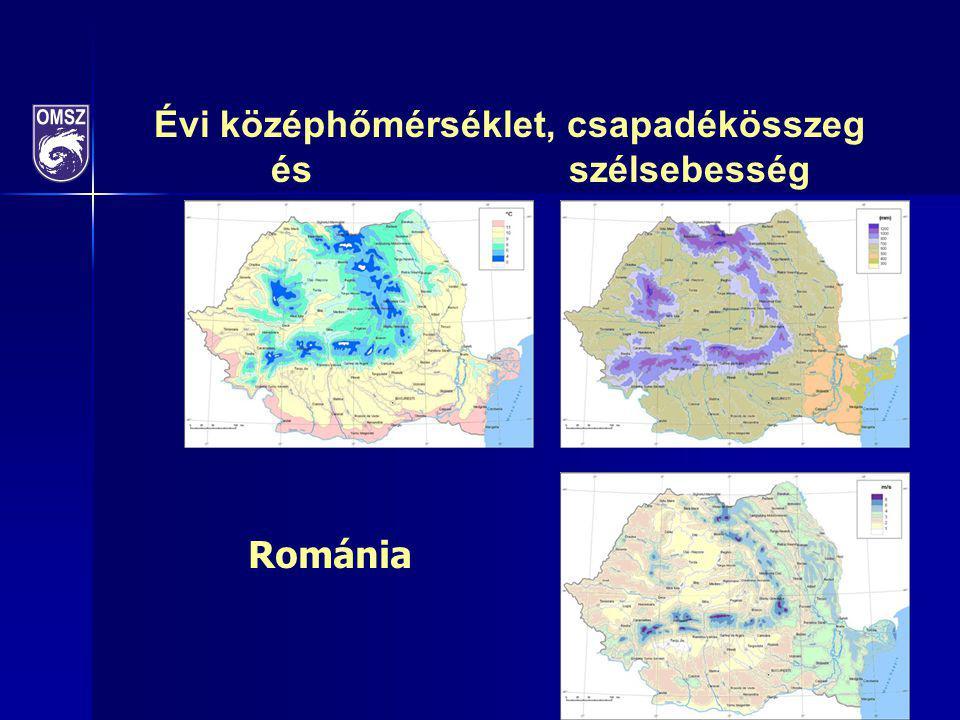 Évi középhőmérséklet, csapadékösszeg és szélsebesség Románia