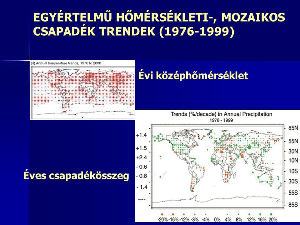 EGYÉRTELMŰ HŐMÉRSÉKLETI-, MOZAIKOS CSAPADÉK TRENDEK (1976-1999) Évi középhőmérséklet Éves csapadékösszeg