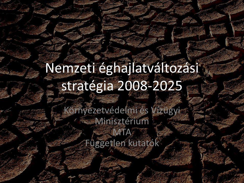 Nemzeti éghajlatváltozási stratégia 2008-2025 Környezetvédelmi és Vízügyi Minisztérium MTA Független kutatók
