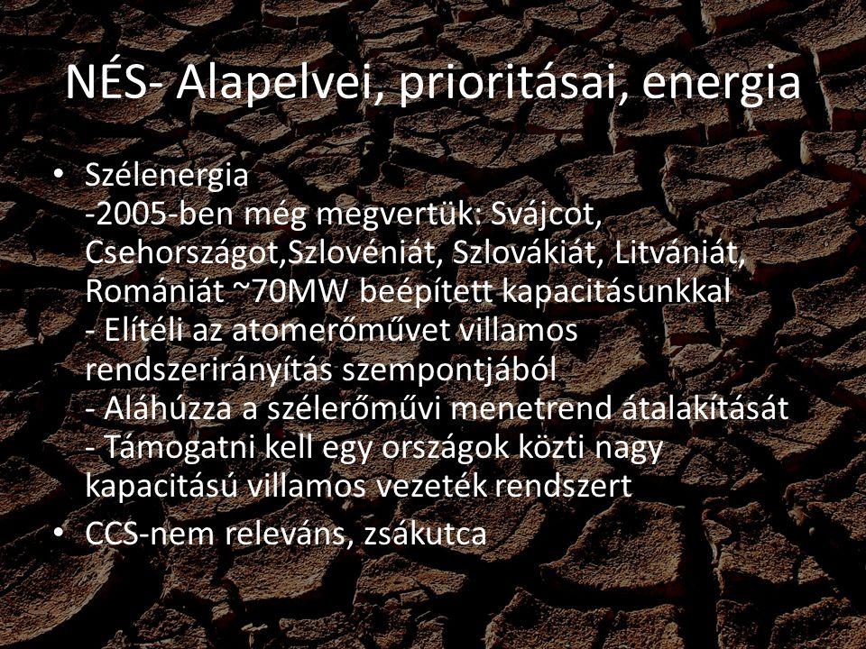 NÉS- Alapelvei, prioritásai, energia Szélenergia -2005-ben még megvertük: Svájcot, Csehországot,Szlovéniát, Szlovákiát, Litvániát, Romániát ~70MW beép