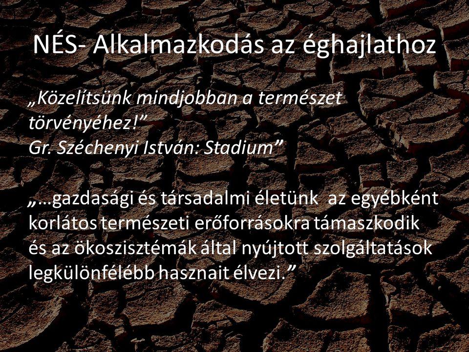 """NÉS- Alkalmazkodás az éghajlathoz """"Közelítsünk mindjobban a természet törvényéhez!"""" Gr. Széchenyi István: Stadium"""" """"…gazdasági és társadalmi életünk a"""