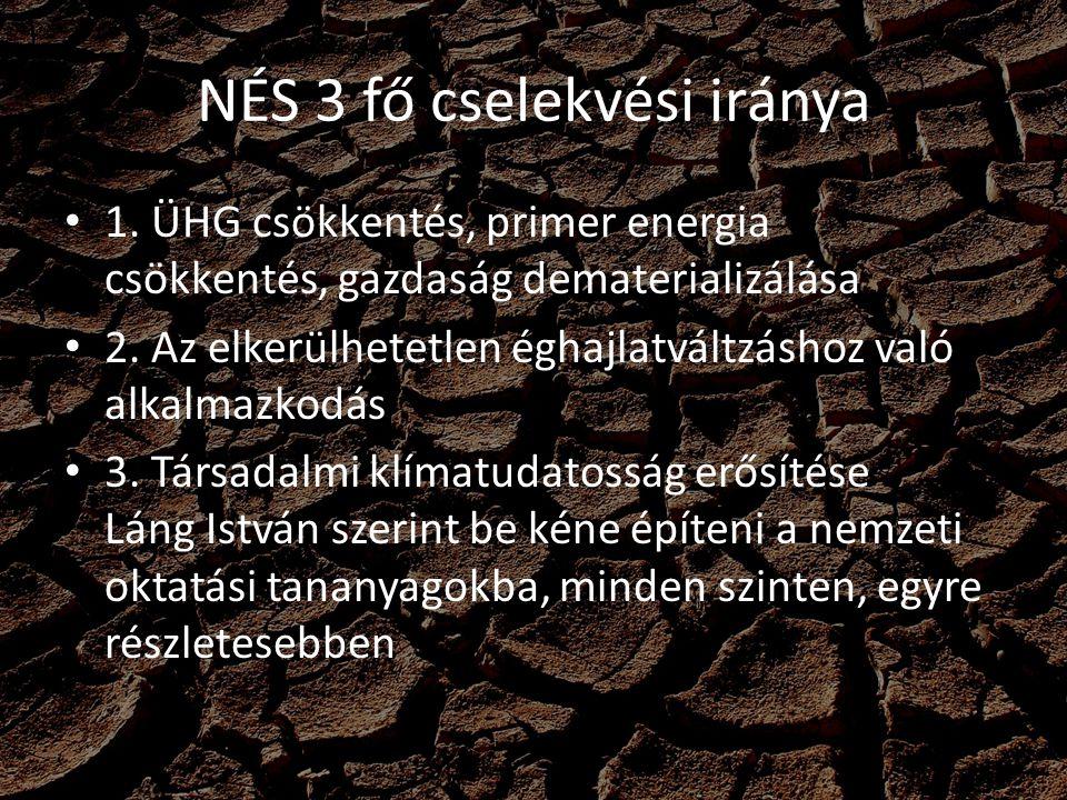 NÉS 3 fő cselekvési iránya 1. ÜHG csökkentés, primer energia csökkentés, gazdaság dematerializálása 2. Az elkerülhetetlen éghajlatváltzáshoz való alka
