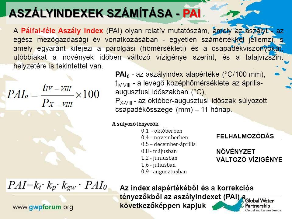 ASZÁLYINDEXEK SZÁMÍTÁSA - PAI A Pálfai-féle Aszály Index (PAI) olyan relatív mutatószám, amely az aszályt - az egész mezőgazdasági év vonatkozásában -