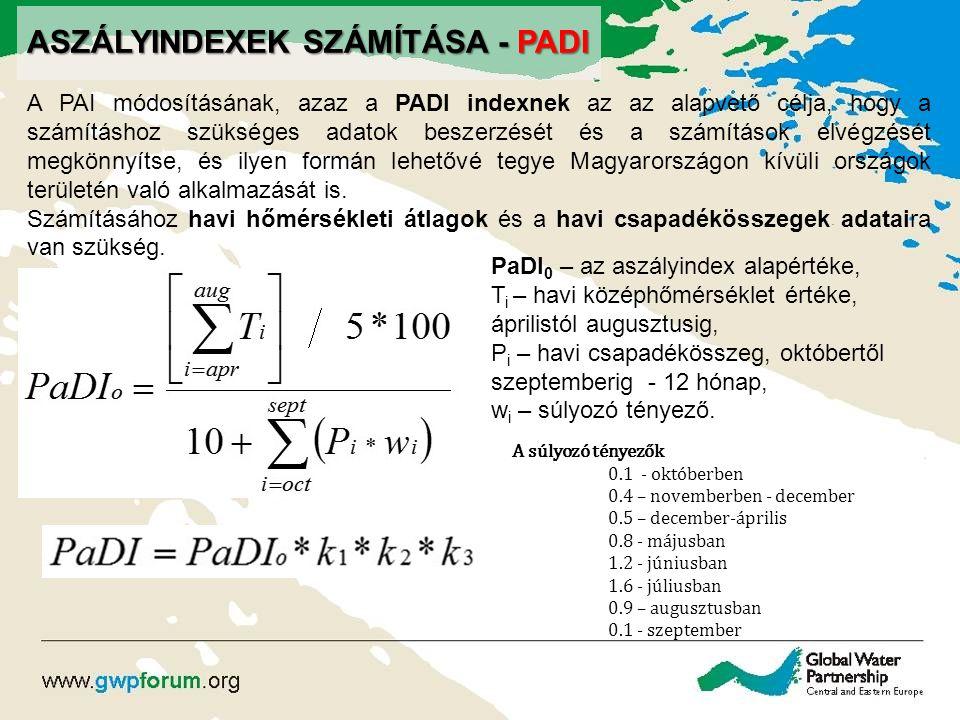 ASZÁLYINDEXEK SZÁMÍTÁSA - PADI A PAI módosításának, azaz a PADI indexnek az az alapvető célja, hogy a számításhoz szükséges adatok beszerzését és a sz