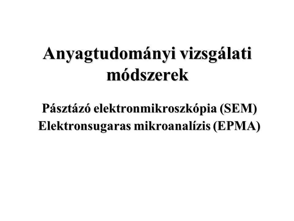 Anyagtudományi vizsgálati módszerek Pásztázó elektronmikroszkópia (SEM) Elektronsugaras mikroanalízis (EPMA)