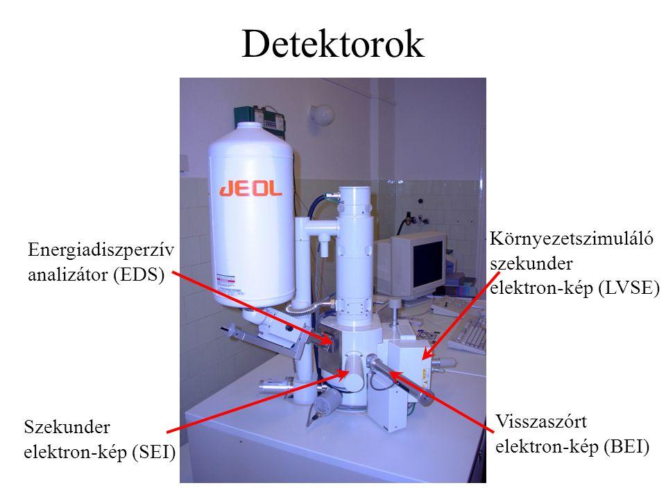 Detektorok Környezetszimuláló szekunder elektron-kép (LVSE) Szekunder elektron-kép (SEI) Visszaszórt elektron-kép (BEI) Energiadiszperzív analizátor (