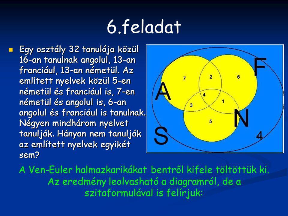 6.feladat Egy osztály 32 tanulója közül 16-an tanulnak angolul, 13-an franciául, 13-an németül. Az említett nyelvek közül 5-en németül és franciául is