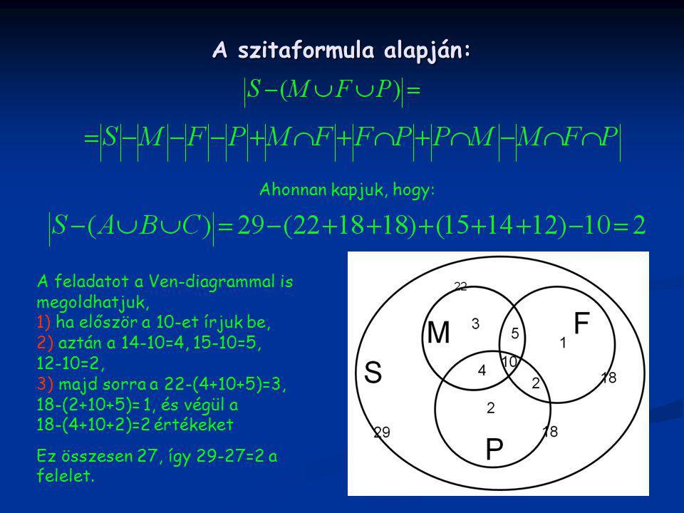 A szitaformula alapján: Ahonnan kapjuk, hogy: A feladatot a Ven-diagrammal is megoldhatjuk, 1) ha először a 10-et írjuk be, 2) aztán a 14-10=4, 15-10=