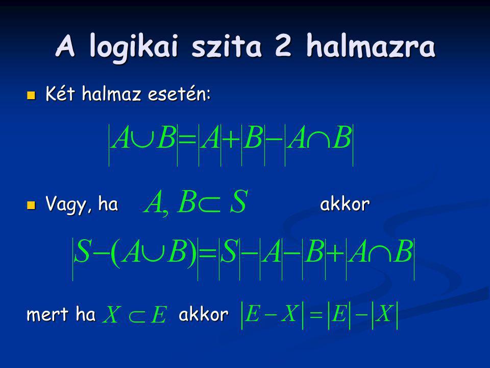 A logikai szita 2 halmazra Két halmaz esetén: Két halmaz esetén: Vagy, ha akkor Vagy, ha akkor mert ha akkor