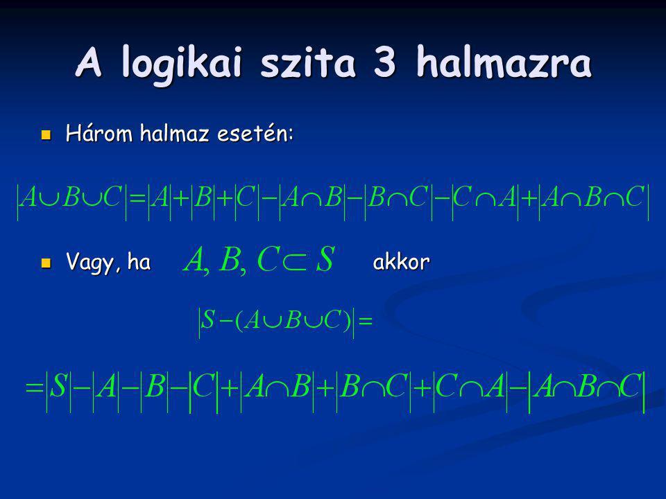 A logikai szita 3 halmazra Három halmaz esetén: Három halmaz esetén: Vagy, ha akkor Vagy, ha akkor