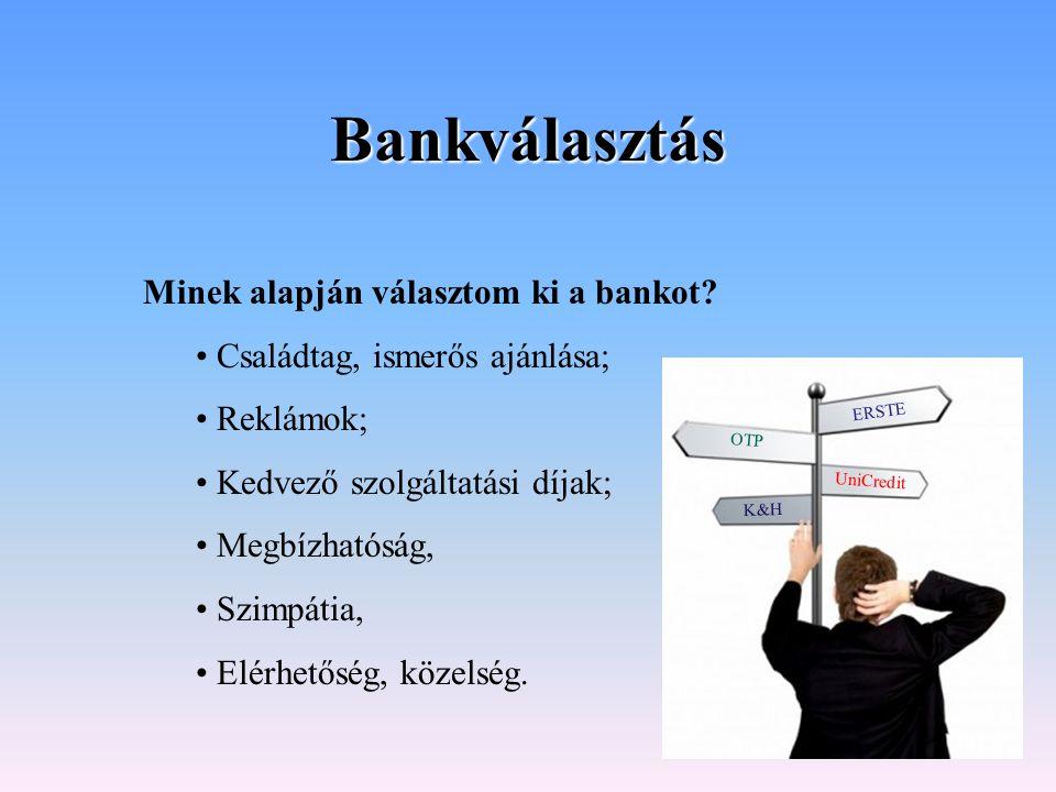 Bankválasztás Minek alapján választom ki a bankot? Családtag, ismerős ajánlása; Reklámok; Kedvező szolgáltatási díjak; Megbízhatóság, Szimpátia, Elérh