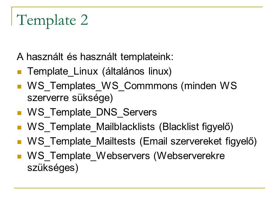 Template 2 A használt és használt templateink: Template_Linux (általános linux) WS_Templates_WS_Commmons (minden WS szerverre süksége) WS_Template_DNS
