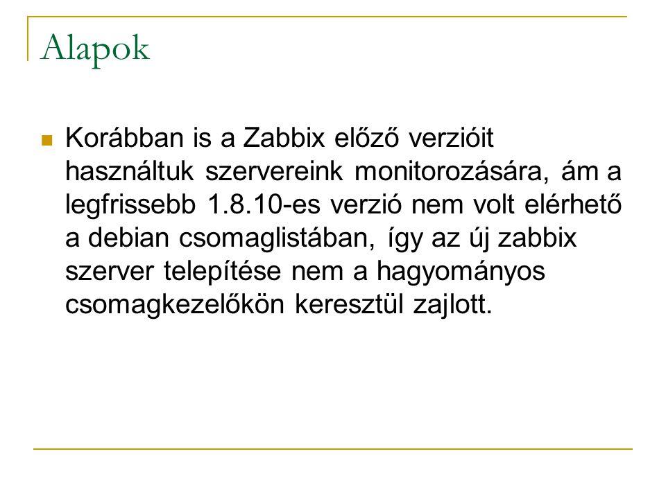 Alapok Korábban is a Zabbix előző verzióit használtuk szervereink monitorozására, ám a legfrissebb 1.8.10-es verzió nem volt elérhető a debian csomagl