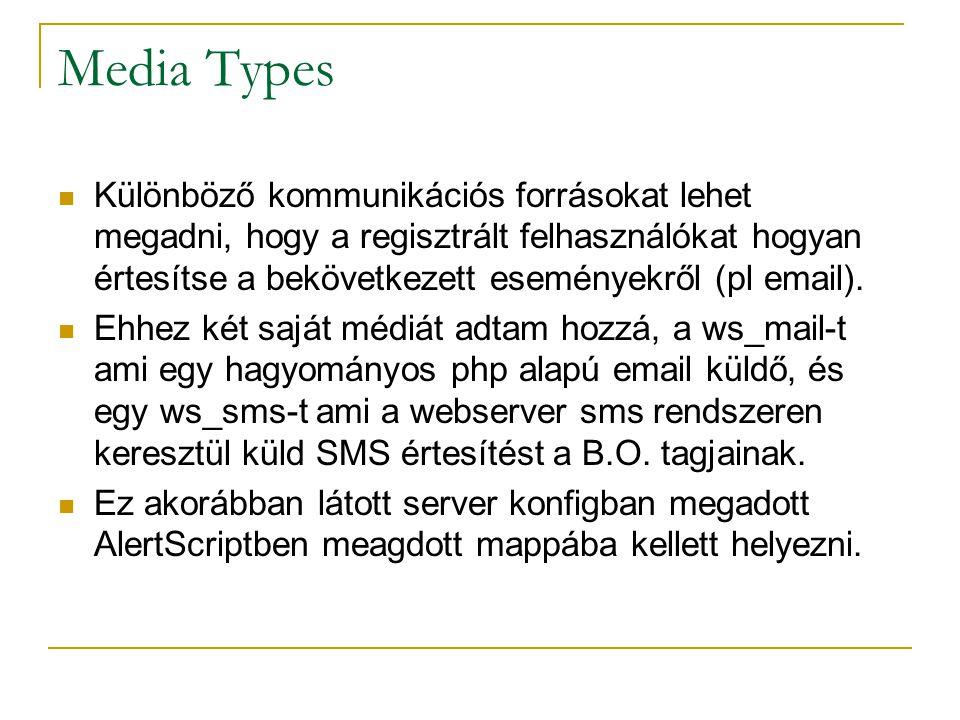 Media Types Különböző kommunikációs forrásokat lehet megadni, hogy a regisztrált felhasználókat hogyan értesítse a bekövetkezett eseményekről (pl emai