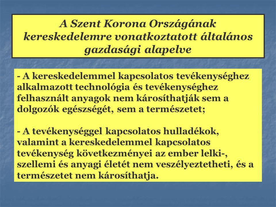 A Szent Korona Országának kereskedelemre vonatkoztatott általános gazdasági alapelve - A kereskedelemmel kapcsolatos tevékenységhez alkalmazott technológia és tevékenységhez felhasznált anyagok nem károsíthatják sem a dolgozók egészségét, sem a természetet; - A tevékenységgel kapcsolatos hulladékok, valamint a kereskedelemmel kapcsolatos tevékenység következményei az ember lelki-, szellemi és anyagi életét nem veszélyeztetheti, és a természetet nem károsíthatja.