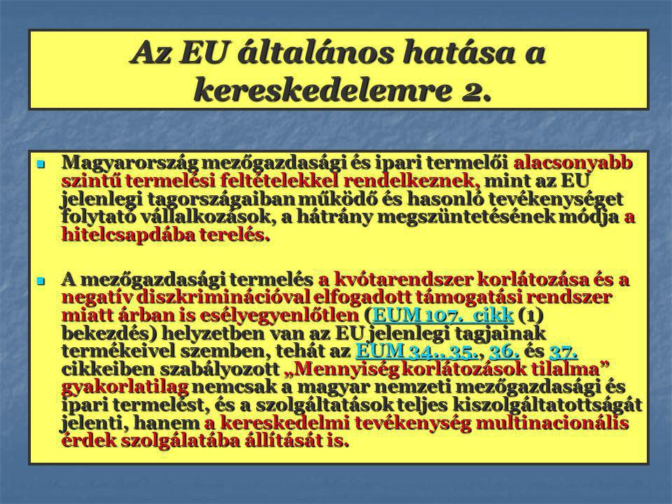 Az EU-tagország kereskedelme A kiskereskedő olyan feltételeket lesz kénytelen teljesíteni, mint beruházással, mint a rendszeres kiadások növelésével, amely eleve kétségessé teszi vállalkozása folytatását.