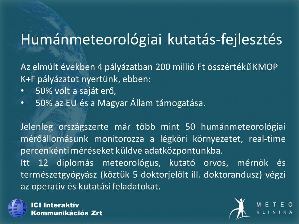 Humánmeteorológiai kutatás-fejlesztés Az elmúlt években 4 pályázatban 200 millió Ft összértékű KMOP K+F pályázatot nyertünk, ebben: 50% volt a saját erő, 50% az EU és a Magyar Állam támogatása.