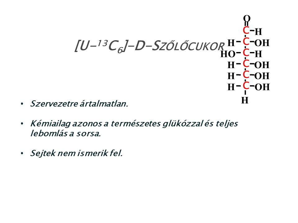 Szervezetre ártalmatlan. Kémiailag azonos a természetes glükózzal és teljes lebomlás a sorsa. Sejtek nem ismerik fel. [U- 13 C 6 ]-D-S ZŐLŐCUKOR HO H