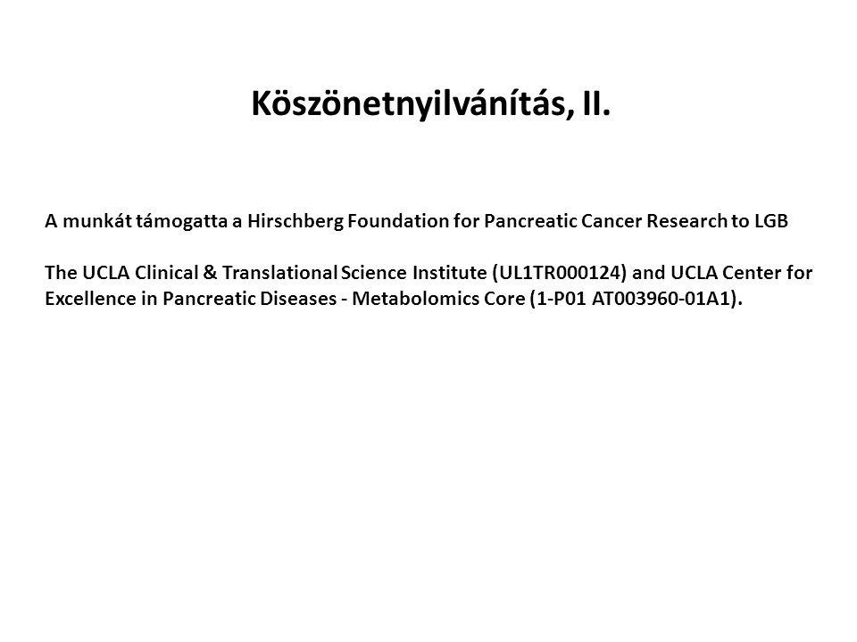 Köszönetnyilvánítás, II. A munkát támogatta a Hirschberg Foundation for Pancreatic Cancer Research to LGB The UCLA Clinical & Translational Science In