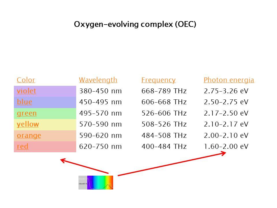 ColorWavelengthFrequencyPhoton energia violet380–450 nm668–789 THz2.75–3.26 eV blue450–495 nm606–668 THz2.50–2.75 eV green495–570 nm526–606 THz2.17–2.